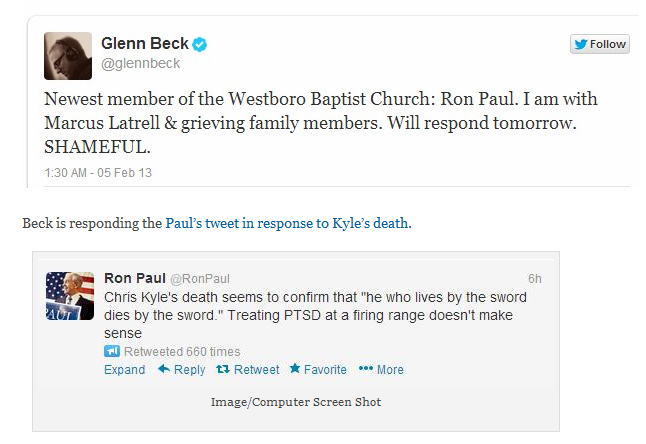 glenn beck ron paul tweet