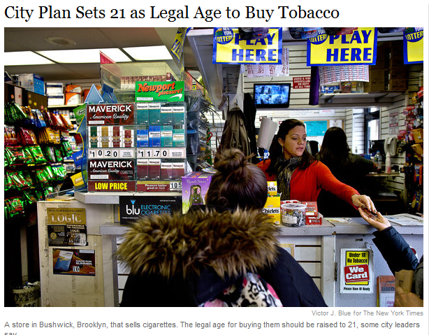 City Plan Sets 21 as Legal Age to Buy Tobacco