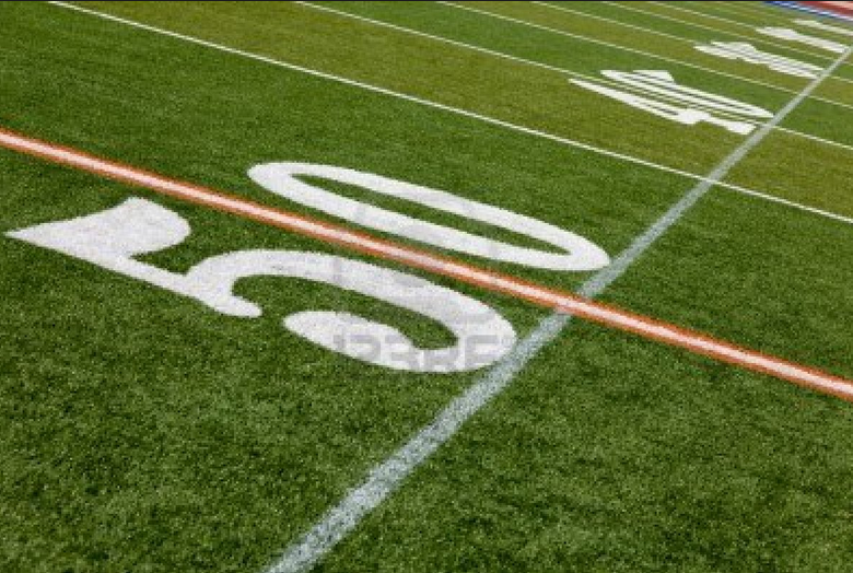 The 50 Yard Line Of An American Football